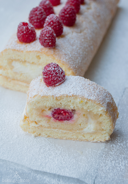 zitronenrolle mit himbeeren lemon roll with raspberries baking more. Black Bedroom Furniture Sets. Home Design Ideas