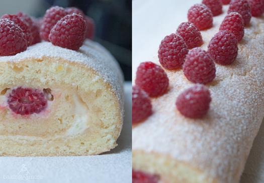 Zitronenrolle mit Himbeeren - Lemon Roll with Raspberries