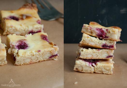 cheesecake, käsekuchen, cake, kuchen, blondie, cherries, kirschen, macadamias, macadamia nuts, nuts, nüsse, brownie